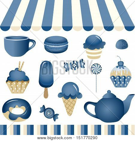 Scalable vectorial image representing a blue candy shop, isolated on white. EPS10.