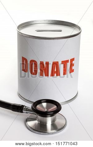 Stethoscope and Donation box concept of Charity work.