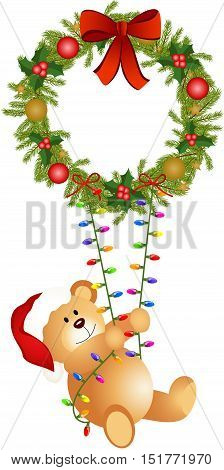 Scalable vectorial image representing a teddy bear swinging on Christmas wreath, isolated on white.