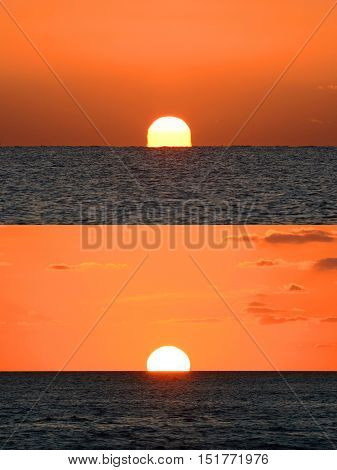 Key West Sunrise versus Sunset, Key West, Florida, USA. Sunrise and Sunset look different is because the temperature is lower and moisture is higher in the morning than in the afternoon.