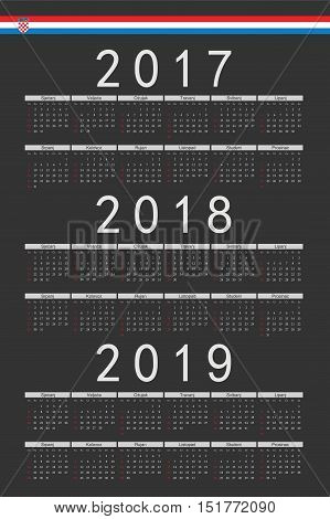 Set Of Black Rectangle Croatian 2017, 2018, 2019 Year Vector Calendars