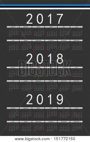 Set Of Black Rectangle Estonian 2017, 2018, 2019 Year Vector Calendars