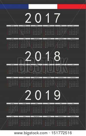 Set Of Black Rectangle French 2017, 2018, 2019 Year Vector Calendars