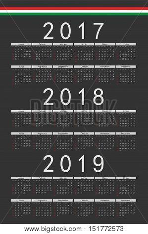 Set Of Black Rectangle Hungarian 2017, 2018, 2019 Year Vector Calendars