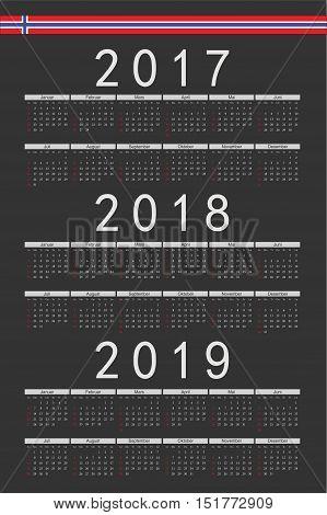 Set Of Black Rectangle Norwegian 2017, 2018, 2019 Year Vector Calendars