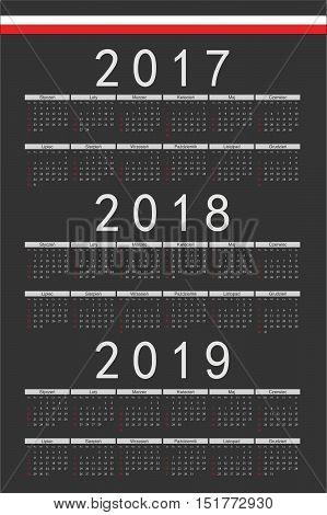 Set Of Black Rectangle Polish 2017, 2018, 2019 Year Vector Calendars