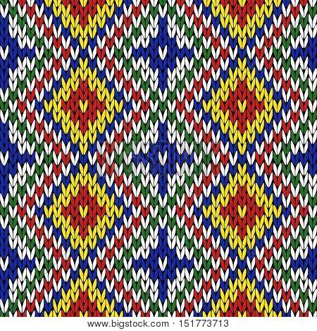 Seamless Knitting Geometrical Colourful Pattern