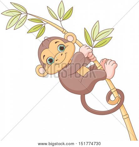 Illustration of cute baby monkey