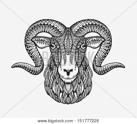 Sheep, ram, mountain goat. Animal decorated with ethnic patterns. Vector illustration