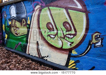 Worried boys on a graffiti