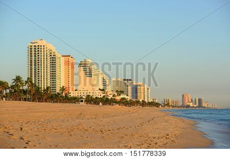 Fort Lauderdale south beach park at sunrise, Florida, USA.