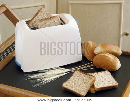 White Toaster And Bread
