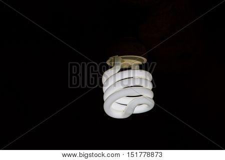 Light bulb lamps on black colour background