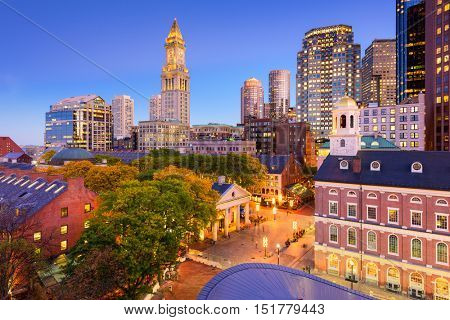 Boston, Massachusetts, USA downtown cityscape.