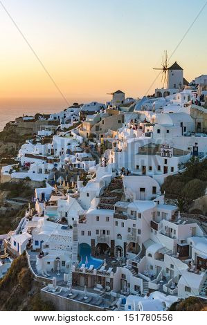 Sunset At Oia Town. Tousist Viewpoint.