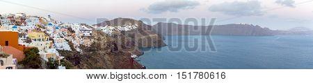 Panoramic View Of The Town Of Thira, Santorini, Greece