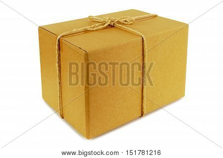 Cardboard box tied with rope isolated on white background