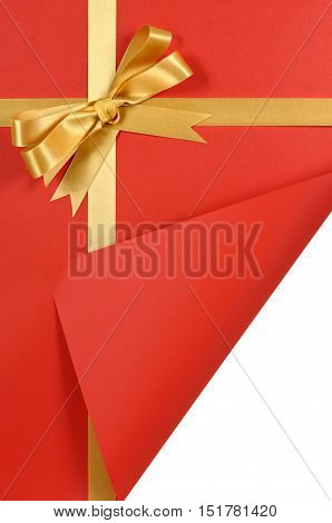 Red And Gold Gift With Curled Corner.