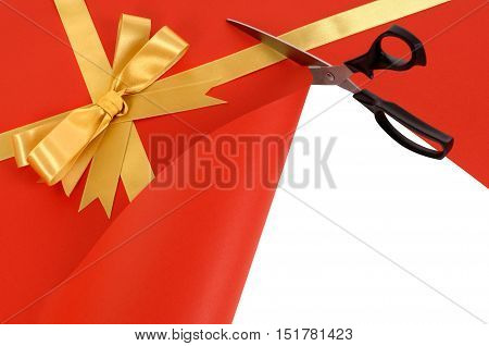 Gift Being Cut Open With Scissors