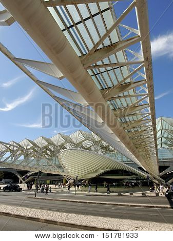LISBON, PORTUGAL - Lisbon Oriente Station in Portugal.  It is one of the main Portuguese intermodal transport hubs and one of the worlds largest rail stations. October 6, 2016