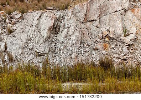 Close up detail of rock formations in the landscape surrounding the township of Queenstown on the east coast of Tasmania
