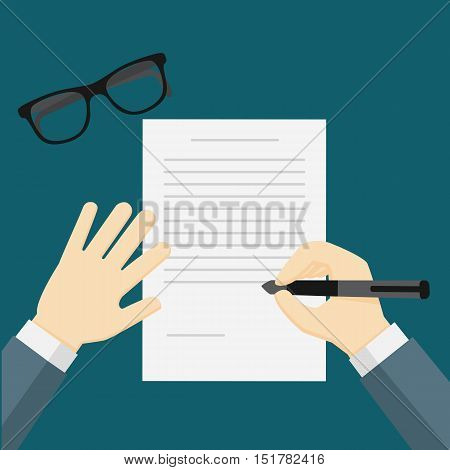 businessman hand holding a pen, businessman writing on the paper