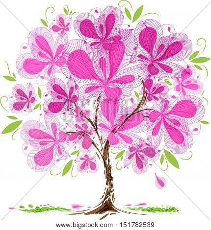 Blooming tree design on white background, vector illustration