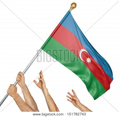 Team of peoples hands raising the Azerbaijan national flag, 3D rendering isolated on white background