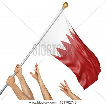 Team of peoples hands raising the Bahrain national flag, 3D rendering isolated on white background