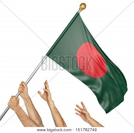 Team of peoples hands raising the Bangladesh national flag, 3D rendering isolated on white background