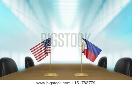 United States and Philippines relations and trade deal talks, 3D rendering