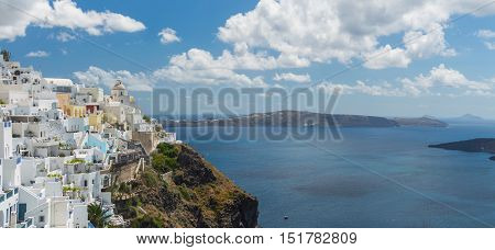 Panoramic view of the town of Fira Santorini Greece