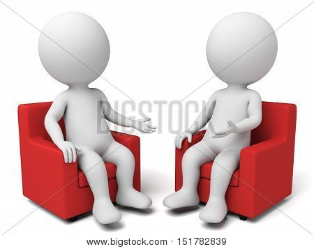 Two 3d people are having a discussion,3d render