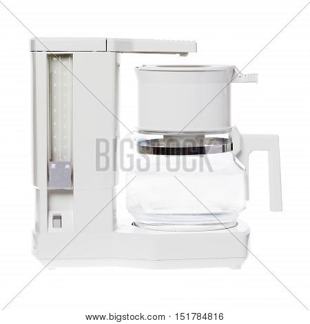A grey plastic electric coffee maker from the late 1980s isolated on white background.
