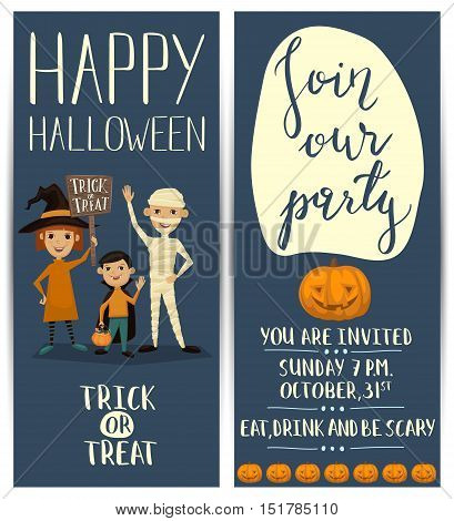 Flyer on Halloween party night. Layout for halloween ad. Halloween party poster with halloween elements and place for text. Halloween castle silhouette at night landscape. Cartoon Halloween spooky castle. Halloween design elements.