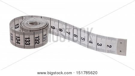 A roll of tapemeasure with centimeters isolated on white.