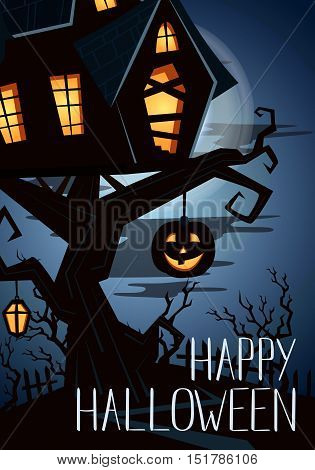 Halloween party poster with halloween elements and place for text. Halloween castle silhouette at night landscape. Cartoon Halloween spooky castle. Halloween design elements. Flyer on Halloween party night. Layout for halloween ad.