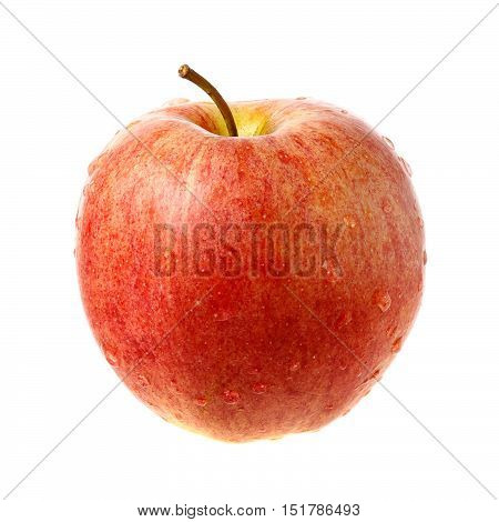 Red fresh apple with water droplets isolated on white background.