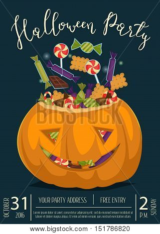 Happy Halloween party banner with smiling pumpkin head jack full of sweet candies, isolated cartoon vector illustration on blue background. Trick or treat concept. Halloween vintage design template. Flyer on Halloween party night. Layout for halloween ad.