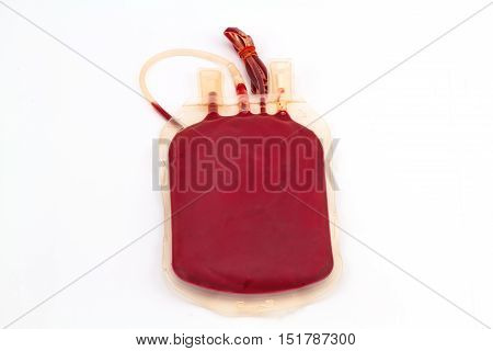 Close up back side bag of blood and plasma group A and rubber tube isolated on white background