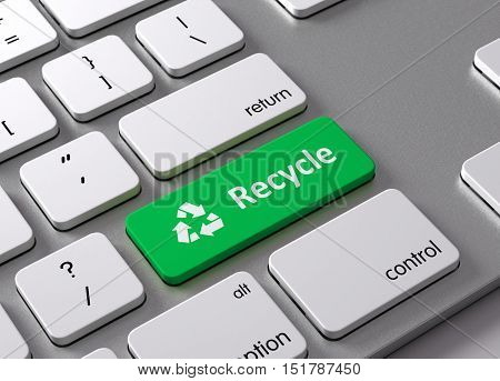 A keyboard with a green button Recycle