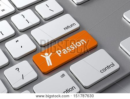 A keyboard with a orange button Passion
