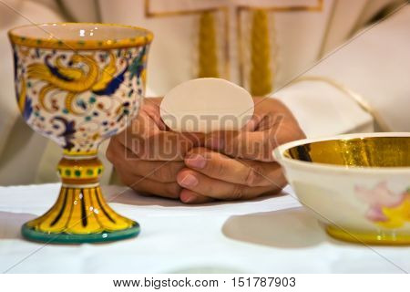 Hands Of The Pope Celebrated The Eucharist