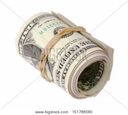 One roll of one US dollar bills with a rubber band isolated on white.