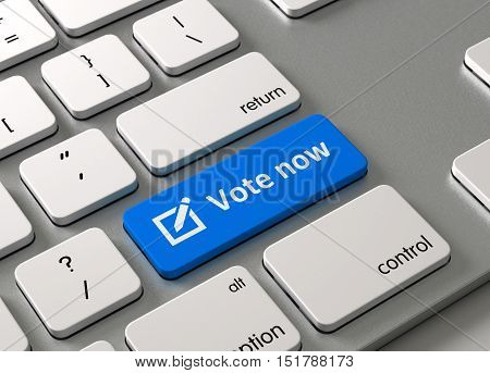 A keyboard with a blue button Vote now