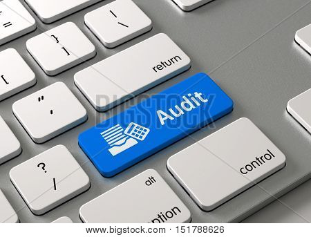 A keyboard with a blue button Audit