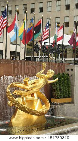 NEW YORK - OCTOBER 13, 2016: Statue of Prometheus at the Lower Plaza of Rockefeller Center in Midtown Manhattan