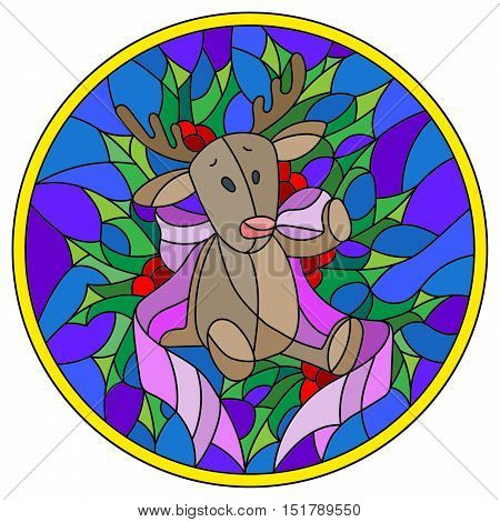 Illustration in stained glass style with a deer toy ribbon and Holly branches on a blue background round picture frame