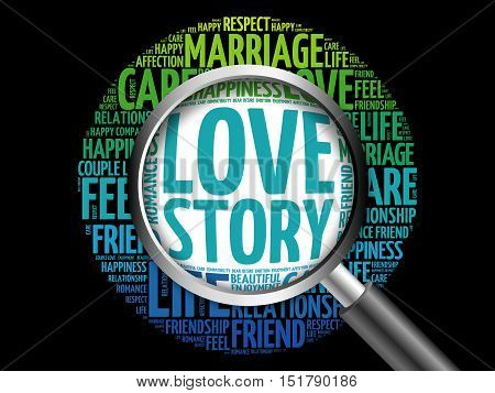 Love Story Word Cloud With Magnifying Glass