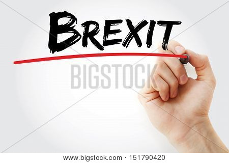 Hand Writing Brexit With Marker